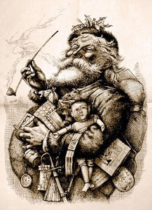 "Thomas Nast's most famous drawing, ""Merry Old Santa Claus"","