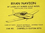 "Ryan Navion Rubber Scale Free Flight 30""  - Product Image"