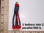Battery/ESC Y Harness  Battery into 2 Parallel ESC Built with Deans Ultra Plugs - Product Image