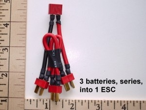 Battery/ESC Y 3 Battery Series into 1 ESC Harness Built with Deans Ultra Connectors - Product Image