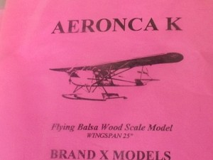"Free Flight Old Time Rubber ""Aeronca K"" Brand X Models - Product Image"