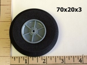 "RRC Light Foam Wheel/Tire Pair. 2.8""x0.8"" (70mmx20mmx3mm(shaft)) - Product Image"