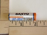 FDK/Sanyo 2500mah Single Cell  NIMH Button End AA Battery - Product Image