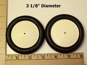 "Williams Bros. Vintage-II Wheels. 3-1/8"" Diameter, Antique Linen Hub, Black Tyre - Product Image"