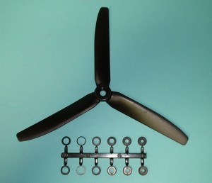 GWS 3 Blade Prop HD 8 x 4 COUNTER ROTATING, Black - Product Image
