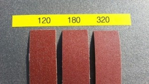 3 Assorted Cloth Backed Aluminum Oxide Sanding Strips 120, 180 and 320 Grit - Product Image