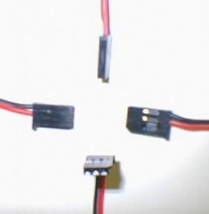 2 Pole/Wire Battery Pigtail Single End Male Futaba J - Product Image