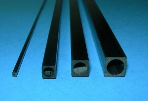 Carbon Square Tube Round Hole Variety of Sizes (Min. qty. 6 rods total; any type rod mix O.K.) - Product Image