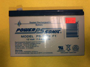 Power-Sonic PS-1270 F1 7 Amp 12V Sealed Lead Acid Field Battery - Product Image